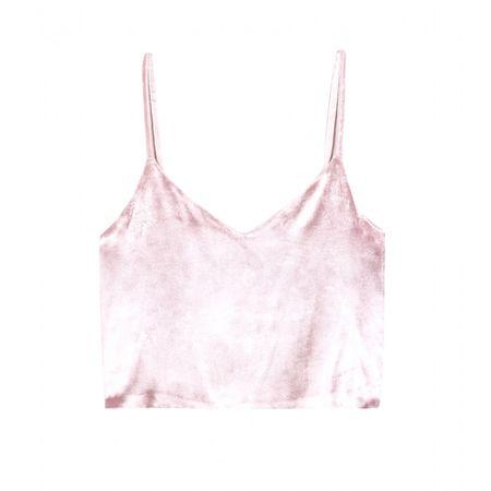 Rosie Assoulin Half Pint Velvet Cropped Top white
