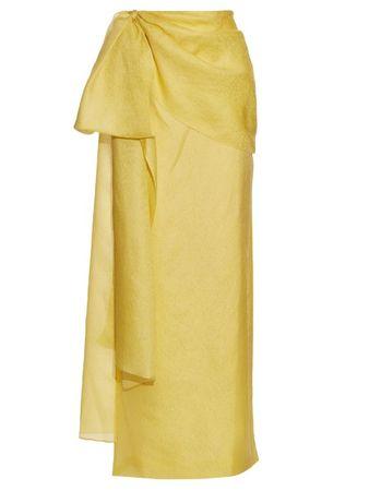 Rosie Assoulin Hustle and Bustle floral-jacquard silk-blend skirt brown