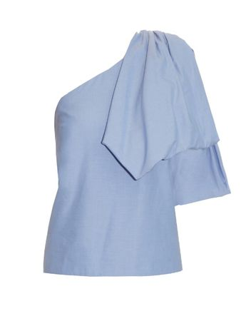 Rosie Assoulin Hustle and Bustle one-shoulder cotton top blue