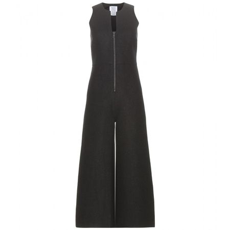 Rosie Assoulin Moonwalker Wool Jumpsuit black