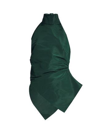 Rosie Assoulin Ruched high-neck silk-faille top