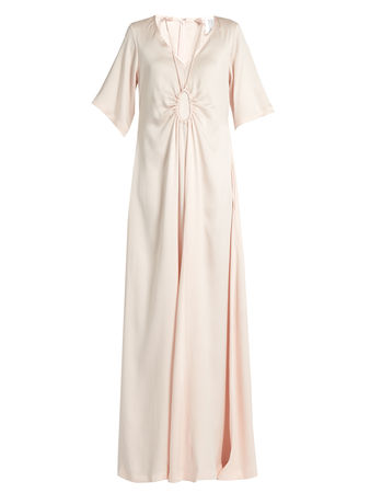 Rosie Assoulin Tie-neck silk-faille gown