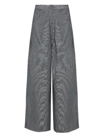 Rosie Assoulin Ziggy hound's-tooth wool-blend trousers gray