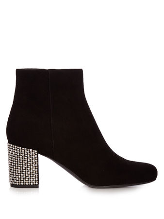 Saint Laurent Paris Babies block-heel suede ankle boots