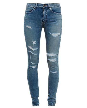Saint Laurent Paris Distressed Jeans turquoiseblue
