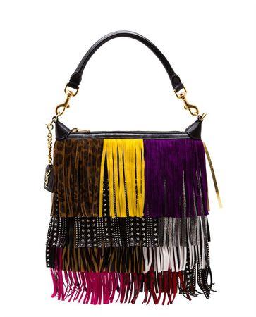Saint Laurent Paris Multi-Coloured Fringe Emmanuelle Hobo Bag black