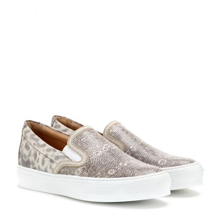 Salvatore Ferragamo Pacau Lux Embossed Leather Slip-on Sneakers white