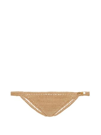 She Made Me Savarna hipster crochet bikini briefs white
