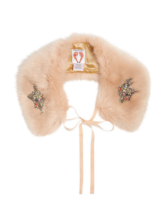 Shrimps Lucy embellished faux-fur collar