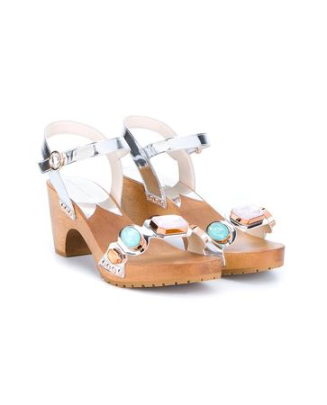 Sophia Webster Metallic Leather Ava Clogs white