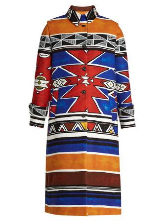 Stella Jean Usare geometric-print brushed coat