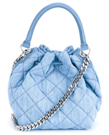 Stella McCartney Beckett Quilted Denim Bucket Bag blue
