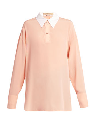 Stella McCartney Contrast collar silk-crepe blouse