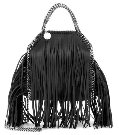 Stella McCartney Falabella Mini Fringed Shoulder Bag gray
