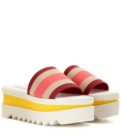 Stella McCartney Slip-on Striped Platform Sandals beige