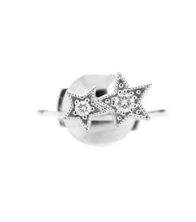 Stone Paris Stardust Button 18kt White Gold And Diamond Earring white