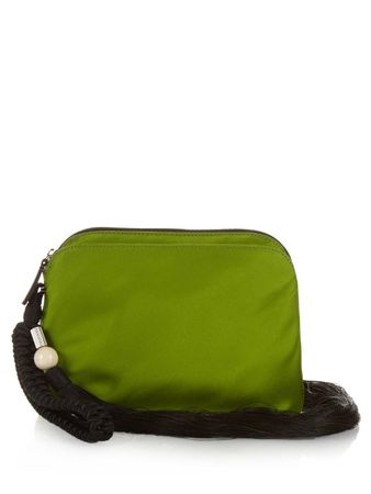 The Row Tassel silk-satin wristlet clutch green