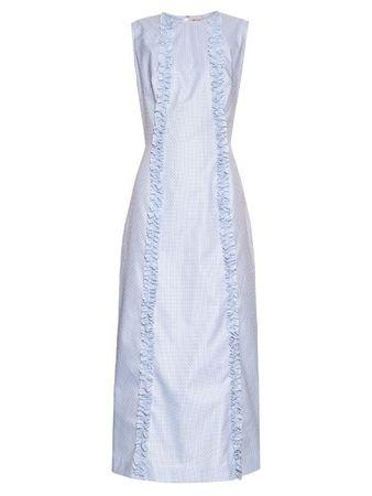 The Vampire's Wife Bonnielee cotton midi dress blue