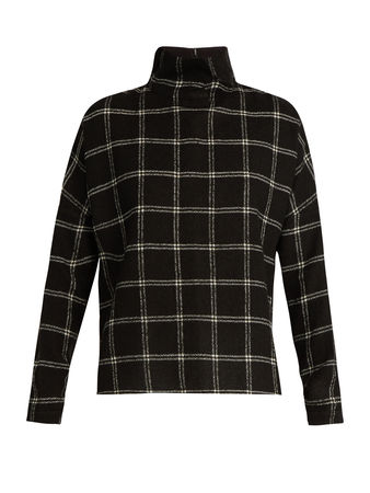 Tibi Plaid wool-blend top