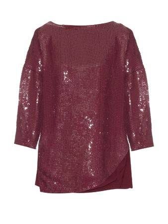 Tibi Sequin-embellished silk top red