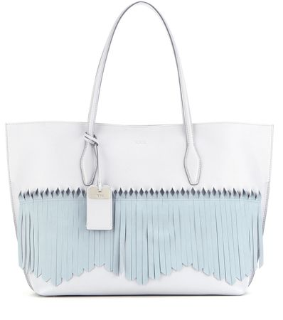 Tod's Joy Large Fringed Leather And Suede Shopper blue