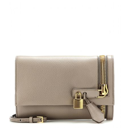 Tom Ford Alix Embellished Leather Clutch gray