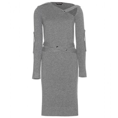 Tom Ford Belted Cashmere Dress gray