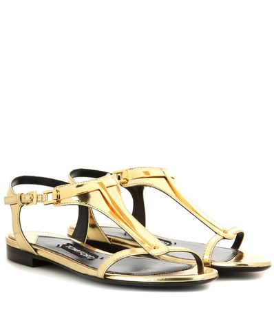 Tom Ford Embellished Metallic Leather Sandals gray