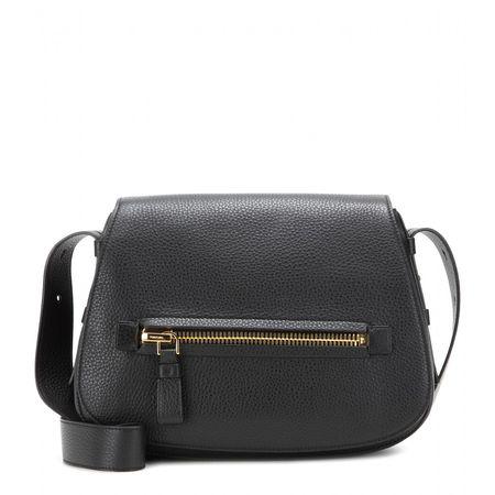 Tom Ford Jennifer Soft Leather Shoulder Bag gray