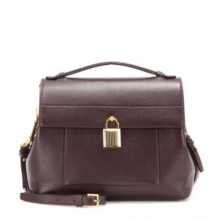 Tom Ford Padlock Trapeze Leather Shoulder Bag brown
