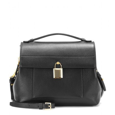 Tom Ford Padlock Trapeze Leather Shoulder Bag gray