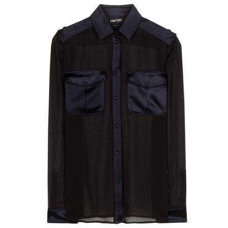 Tom Ford Sheer Silk Blouse black