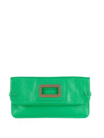 Tomas Maier Fold-over leather clutch green