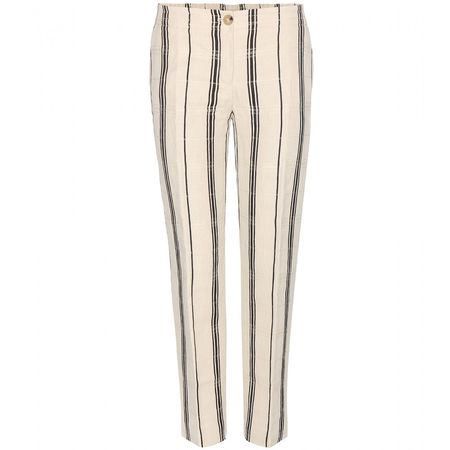 Tory Burch Carrie Silk And Linen-blend Trousers beige