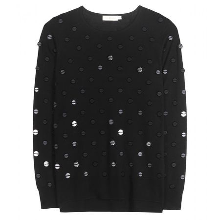 Tory Burch Embellished Wool Sweater black