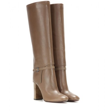 Tory Burch Faye Leather Knee-high Boots gray