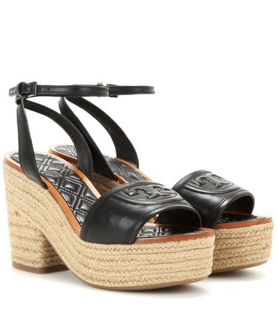 Tory Burch Fleming Platform Espadrille-style Leather Sandals gray