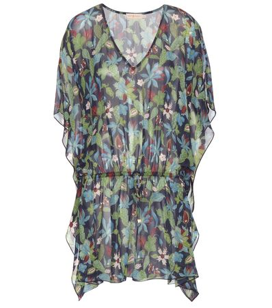 Tory Burch Floral Printed Silk Tunic gray