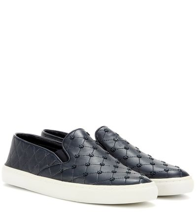 Tory Burch Leather Slip-on Sneakers gray