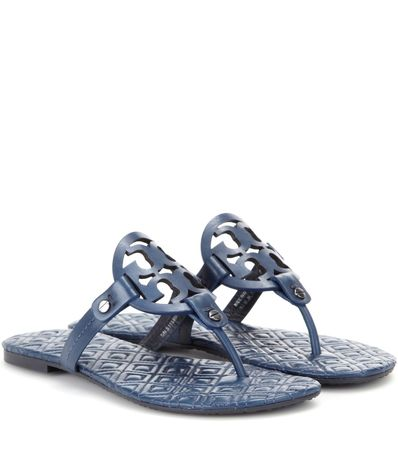 Tory Burch Marion Leather Sandals gray