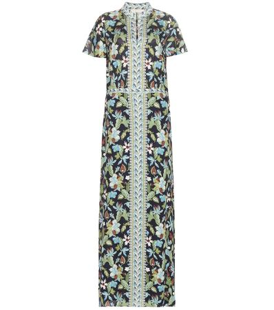 Tory Burch Printed Silk Maxi Dress gray