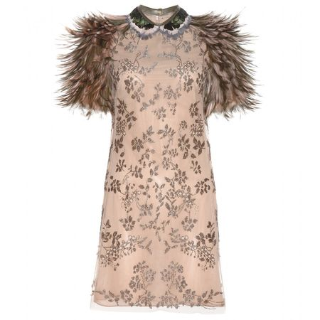 Valentino Bead-embellished Dress With Feathers brown