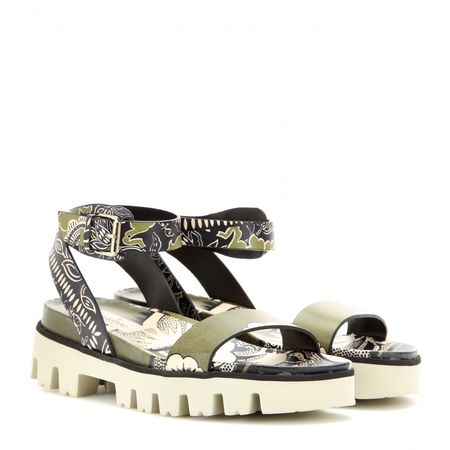 Valentino Covered Printed Leather Sandals beige