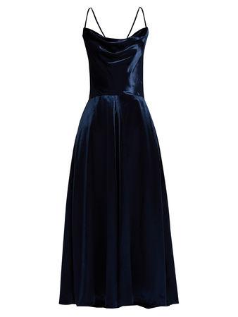 Valentino Cowl-neck velvet dress