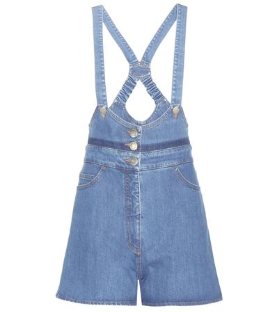 Valentino Denim Dungaree Shorts blue