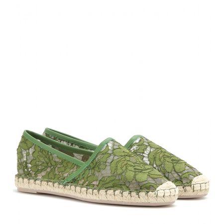 Valentino Lace Espadrilles green