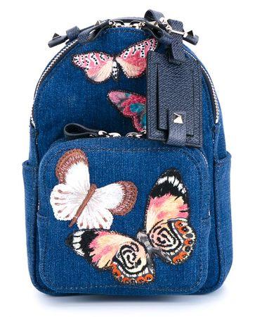 Valentino Mini Butterfly Denim Backpack blue