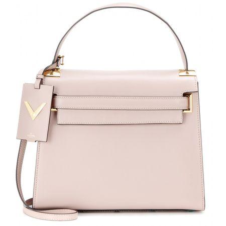 Valentino My Rockstud Leather Shoulder Bag gray