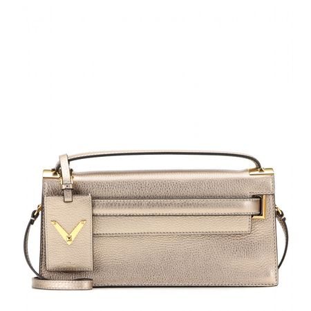 Valentino My Rockstud Leather Shoulder Bag gray