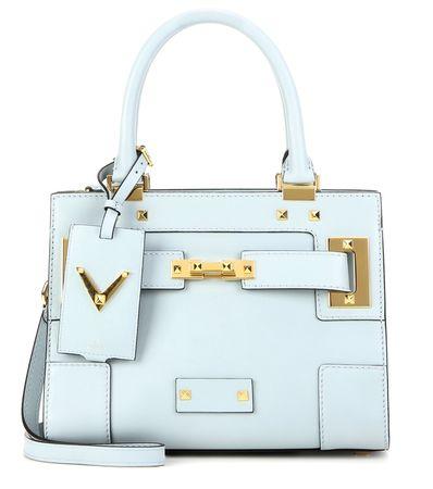 Valentino My Rockstud Small Embellished Leather Shoulder Bag blue